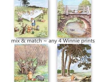 Classic Winnie the Pooh Nursery Print (Girls Decor, Boys Room Wall Art) Mix & Match Gift, Set of 4 SALE