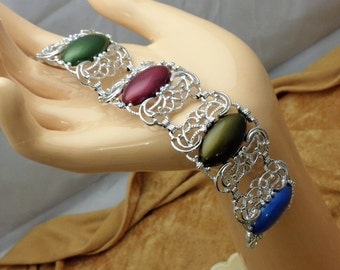 Sarah Coventry Colorful Thermoset Wide Link Bracelet Vintage Sarah Coventry Link Bracelet with Thermoset Plastic Inserts