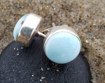 Larimar, Larimar earrings, Larimar stud earrings, Larimar jewelry, Larimar Sterling Silver, Larimar round earrings, Larimar jewellery, Gems