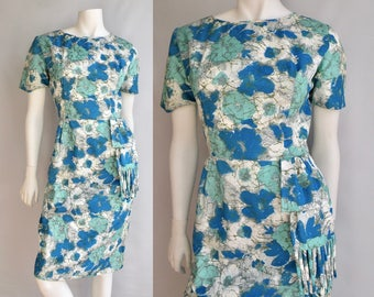 50s Floral Short Sleeve Dress Blue and Aqua Floral Patter with Sash detail in the front like Sarong - L