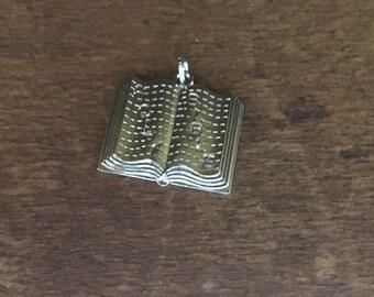 Vintage Holy Bible Sterling Charm for Bracelets