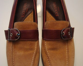 Sesto Meucci Camel Brown TWO-TONE LOAFERS 6 1/2 N