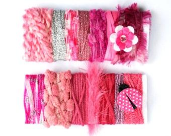 2 Pink Yarn Bundles -  Novelty Yarn Card - Fiber Sample Card for Felting Supply, Mixed Media, Altered Art, Embelisment, etc - A04