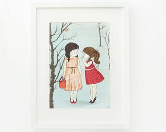 Children's illustration art - Two Girls and a Secret