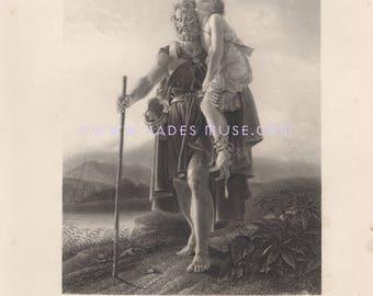 General Of Roman Empire-Belisarius-1875 Antique Vintage Art Print-Gothic Picture-Blind Man-Carries Snake Bite Victim-Between Life & Death