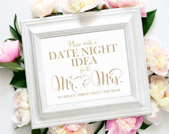 Date Night Idea Sign | 8 x 10 Sign | DIY Printable | Bella | Antique Gold | PDF and JPG Files | Instant Download