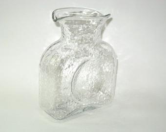 Blenko Double Spout Water Bottle -Clear Glass w/ Martele Finish - Mid-Century Modern Art Glass Pitcher Carafe