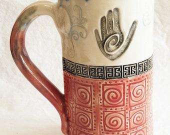 RESERVED for Christine healing hand ceramic stoneware coffee mug 20oz  stoneware 20C081