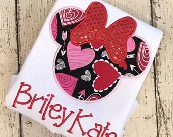 Valentine's Minnie Mouse Shirt  - Girl's Valentine's Day Applique Shirt - Girl's Design - Vday shirt - Valentine - monogram shirt