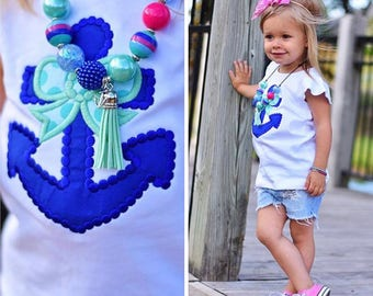 Applique Anchor with Bow M2M ABC NECKLACE - Summer Applique Design - Girl's shirt