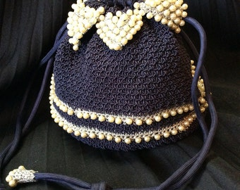 50's Crocheted Navy Blue & Silver Beaded Pearl Draw String Purse
