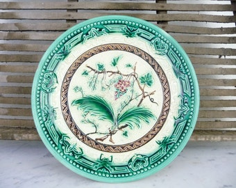 Vintage Majolica Pottery Footed Majolica Compote Bowl Majolica Plate Cake Stand Found in Germany