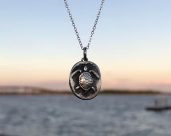 Sea Turtle Necklace - Fine Silver - Handmade Jewelry - Wax Seal Charm