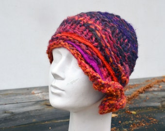 violet, orange, magenta boho hat, retro winter knit hat, fuchsia purple cloche, soft wool art to wear, crazy hat, artsy unique woman