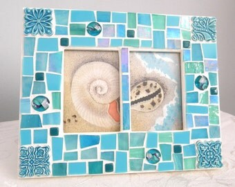 AQUA and TURQUOISE Mosaic Frame - Double Picture Frame - Stained Glass - Cabochons - Ceramic Tiles