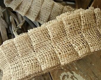 3 1/2 Yards - Handmade Jute Burlap Box Pleat Ruffle Ribbon