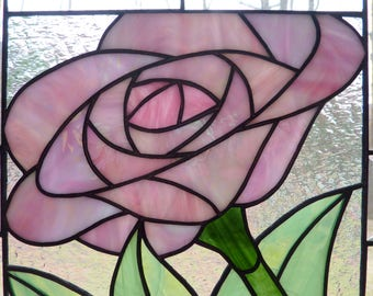 Stained Glass Panel - Pink Petals
