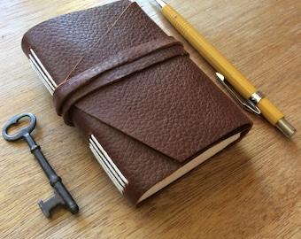 Walnut Brown Mini Pocket Journal-Leather-Handmade-Gift Idea