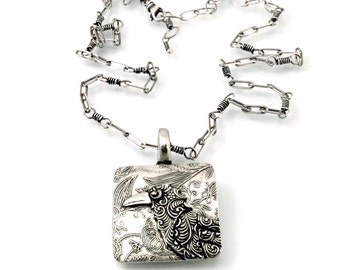 Sterling Silver, Raven, Corvidae, Crow, Raven Pendant, Raven Necklace, Raven Jewelry, Raven Totem, Crow Jewelry, Silver Raven, 1251
