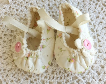 Baby Girl Mary Janes with Pink Roses on Cream, Three Sizes