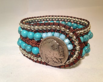 Turquoise Silver Leather Indian Head Nickel Cuff Bracelet
