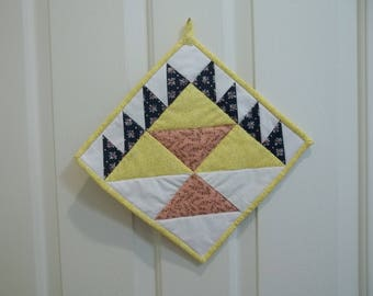 Quilted pot holder, candle mat, Block is Birthday Cake, kitchen decor,