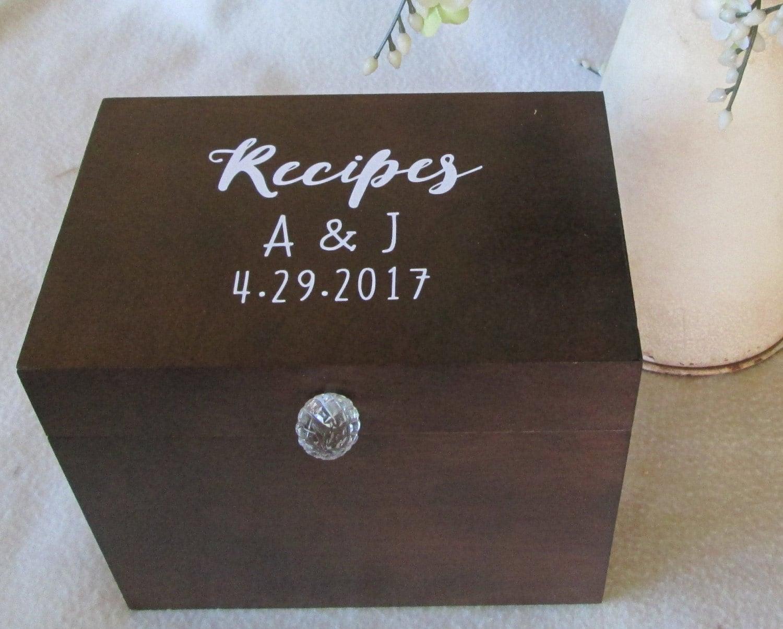 recipe box 5x7 or 4x6 wood recipe box