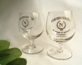 Rare Vintage Authentic Small COURVOISIER French Crystal & Gold Cognac Brandy Snifter GLASSES- Birthday Gift Him Her Boyfriend Husband Father