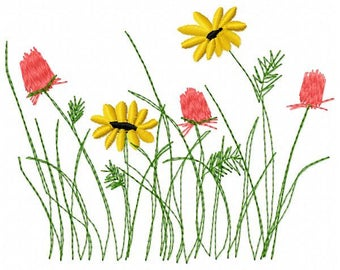 Wildflowers Machine Embroidery Design - Instant Download