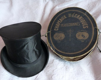 Antique French silk collapsible top hat Gibus w hat box PARIS black opera steampunk top hat, antique victorian mens top hat w stamps, hatbox