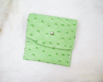"""Green Ostrich """"Cactus"""" Leather Pouch"""