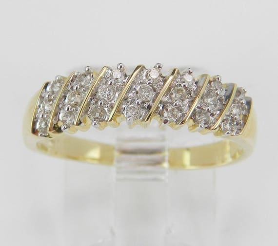Diamond Wedding Band Anniversary Ring Size 7 Round Stackable Yellow Gold