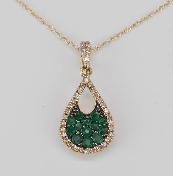 """Diamond and Emerald Cluster Pendant 14K Yellow Gold Necklace 18"""" Chain May Gem"""