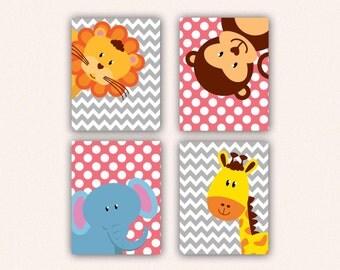 Jungle Animal Nursery Print Set - Elephant Monkey Giraffe Lion Kids Bedroom Art, Chevron and Polka Dot Safari Decor in Rose & Gray (5008)