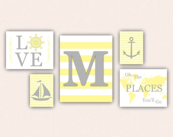 Nautical Nursery Print Set - Gray & Light Yellow Anchor, Sail Boat, Love, World Map, Oh the Places You'll Go on Chevrons, Stripes (5001)