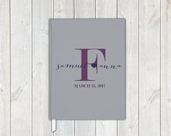 Gray Purple & Navy Monogram Handwritten Script Wedding Guest Book with Bride and Groom - Personalized Traditional Guestbook, Journal, Album