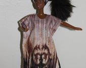 Sparkly kaftan and headwrap for 11 1/2 inch doll such as Barbie