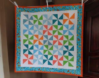 Baby Quilt, Baby Quilt, Pinwheels Quilt, Bright Modern Quilt 0306-02