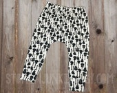 Black and White Guitar Pants, Baby Harem Leggings, Girl Baby, Boy Baby, Newborn Baby Clothes, Baby Rock Guitar, Toddler Harem Pants