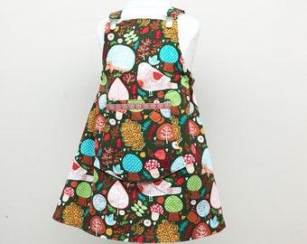 Girls Dress, Fall Jumper for Girls, Woodland Girls Pinafore, Corduroy Girls Jumper Dress, Ready to Ship, Kids Autumn, European Clothing