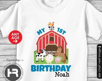 Farm Birthday Shirt or Bodysuit - old mcdonald theme birthday shirt - Barnyard Birthday Shirt - made for ANY AGE