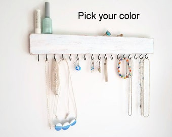 Jewelry Organizer wall - Jewelry Holder - Necklace Holder - Distressed Wood - Pick your Color