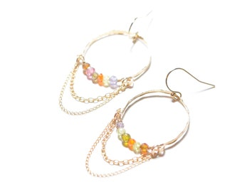 14k Gold Filled Hoop with Tiny Cubic Zirconia Earrings