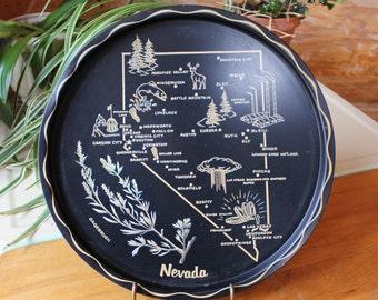 Vntg Nevada Bar Serving Tray Decorative Souvenir