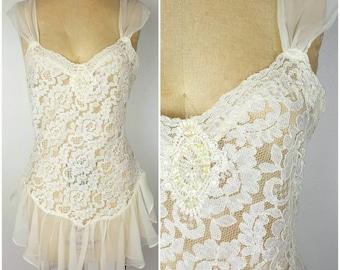 Ivory White Full Lace Sheer Teddy - Flirt Skirt - 36