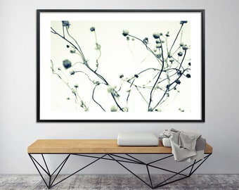 Minimalist  Modern print Botanical print Large wall art Canvas Giclee Print up to 40X60 black and white poster by Duealberi Italy