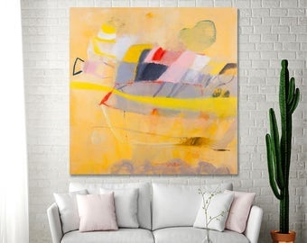 Canvas art Yellow Painting Large Abstract painting 36x36 colorful Modern painting fun bold fresh art  by Duealberi