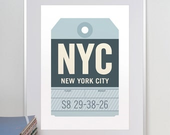 New York City, New York, NYC. Luggage Tag Poster. Baggage Tag Print. Travel Poster. Airport Code. Typographic Print.