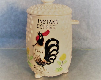 Instant Coffee Canister White Hobnail with Rooster