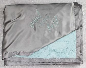 Baby Blanket, Baby girl, baby boy Minky blanket, embroidered blanket, personalized blanket, blanket with name, grey and aqua, gift for adult
